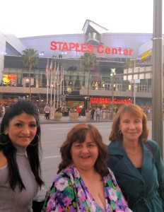 Donna at Staples Center with friends