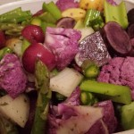 Vegetables for roasting. Purple Cauliflower, potatoes, asparagus
